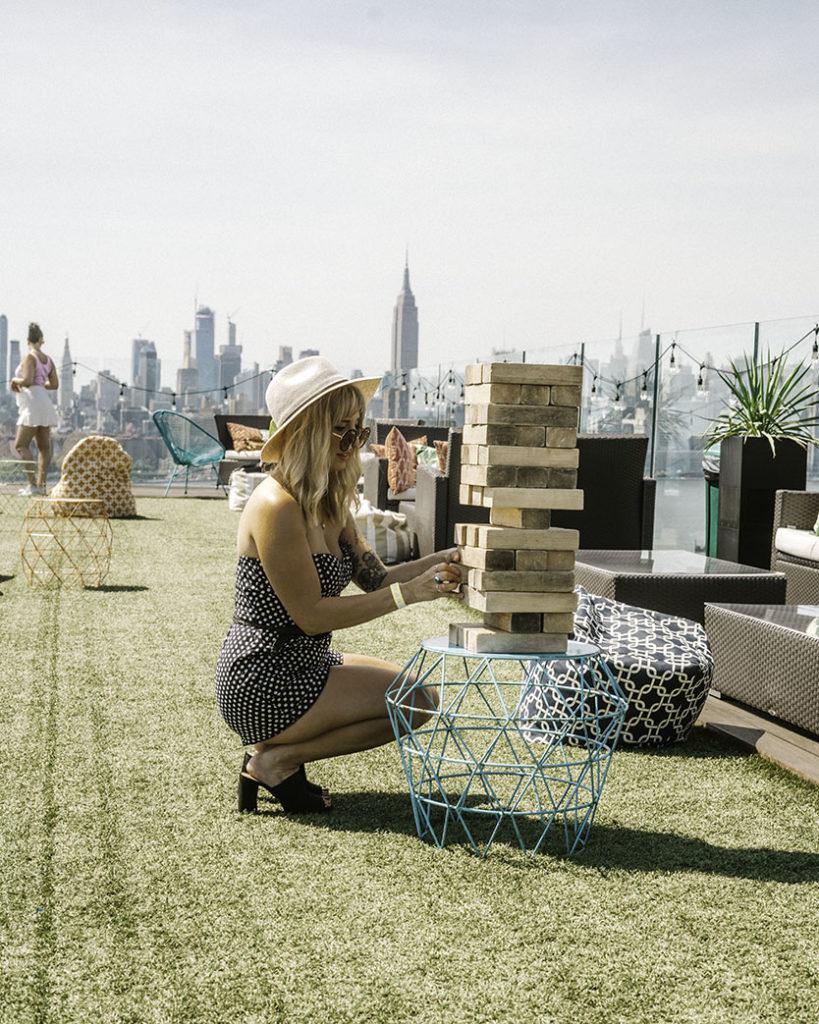 Jumbo Jenga Turf Club Westlight - Brooklyn's Best Rooftop Bars Instagram