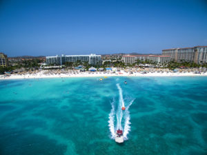 Aruba Marriott Resort_ Boat and Resort Drone Shot